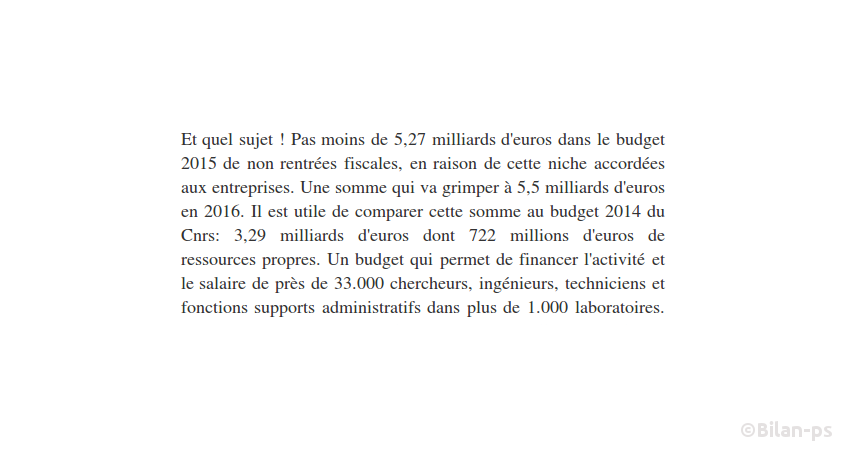 CIR : 5,5Mds€ par an