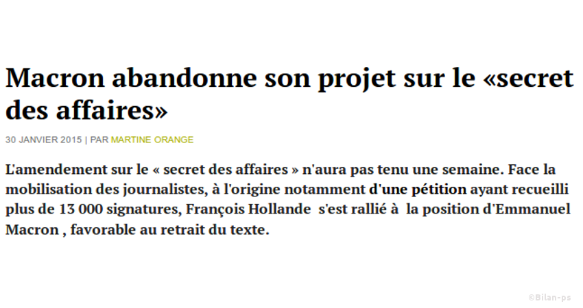 amendement sur le « secret des affaires »