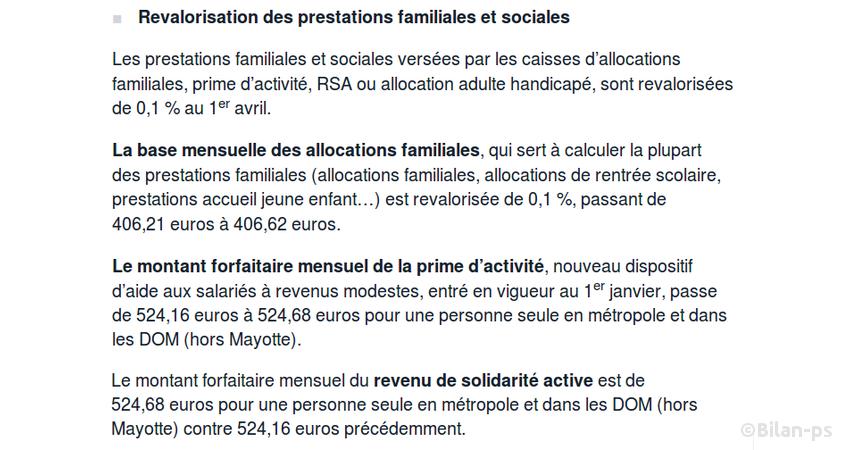 Revalorisation des prestations familiales et sociales de… 51 centimes