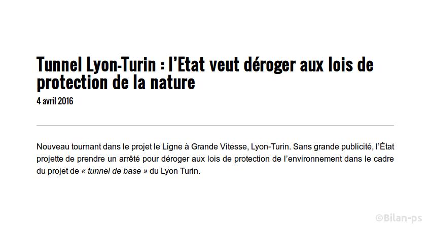 Lyon-Turin : l'État veut déroger aux lois de protection de la nature