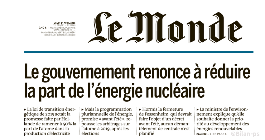 Le gouvernement renonce à réduire la part de l'énergie nucléaire