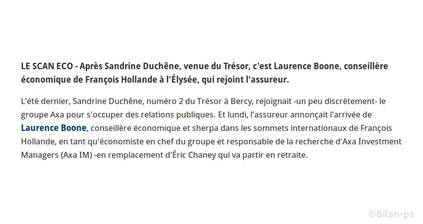 S. Duchêne, numéro 2 du Trésor à Bercy, embauchée par Axa
