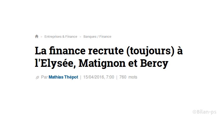 La finance recrute (toujours) à l'Elysée