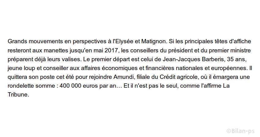 Barberis, conseiller de Hollande quitte l'Élysée pour Amundi