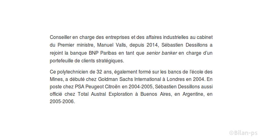 Sébastien Dessillons, Affaires industrielles (Matignon), part chez BNP