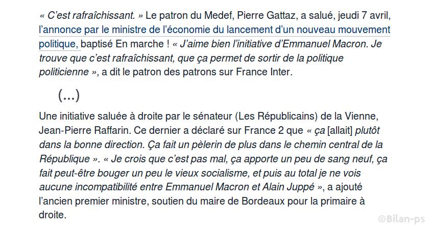 Gattaz : J'aime bien l'initiative d'Emmanuel Macron. Je trouve que c'est rafraîchissant