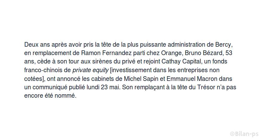 Bruno Bézard quitte la direction du Trésor pour un fonds d'investissement