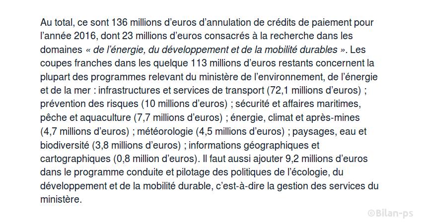 136 M€ d'annulation de crédits pour le ministère de l'environnement