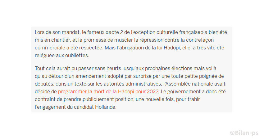 Suppression du démantèlement de la Hadopi