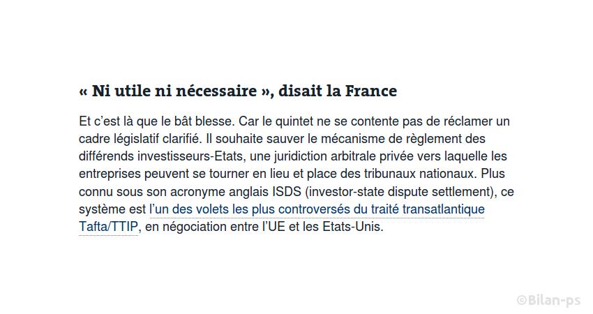 La France promeut l'arbitrage privé (ISDS) du Tafta