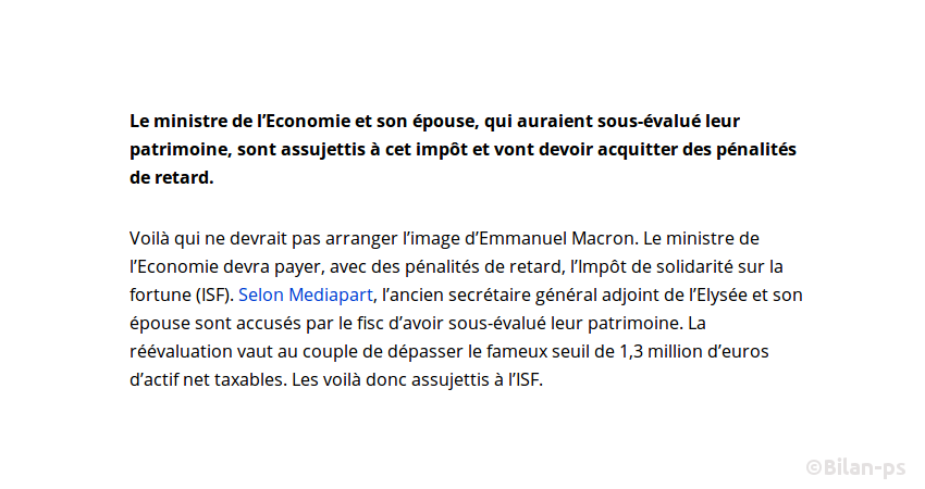 Macron sous-estime ses biens de 200 000€ pour ne pas payer l'ISF