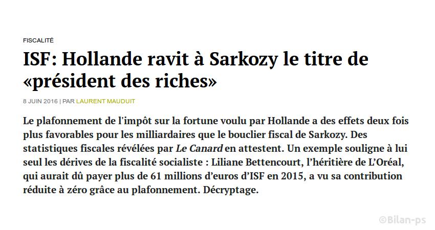 Hollande a plus avantagé les milliardaires que Sarkozy