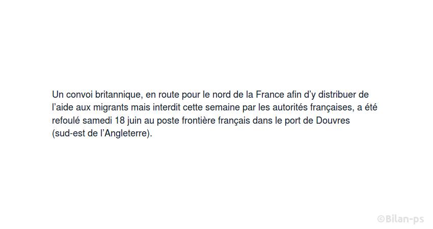 Un convoi britannique d'aide aux migrants refoulé par la France