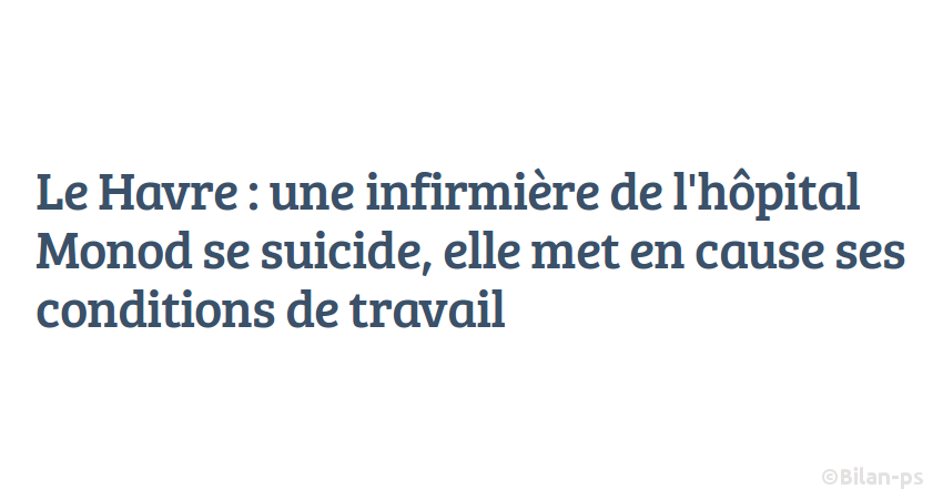 Le Havre : une infirmière se suicide