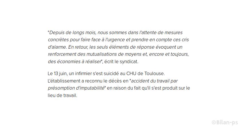 Le 13 juin, un infirmier s'est suicidé au CHU de Toulouse