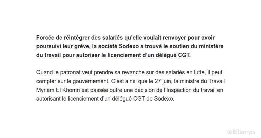 Le gouvernement au secours de Sodexo pour licencier un délégué CGT