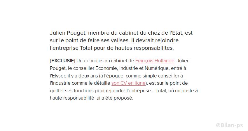 J. Pouget, conseiller Économie, Industrie et Numérique quitte l'Élysée pour Total