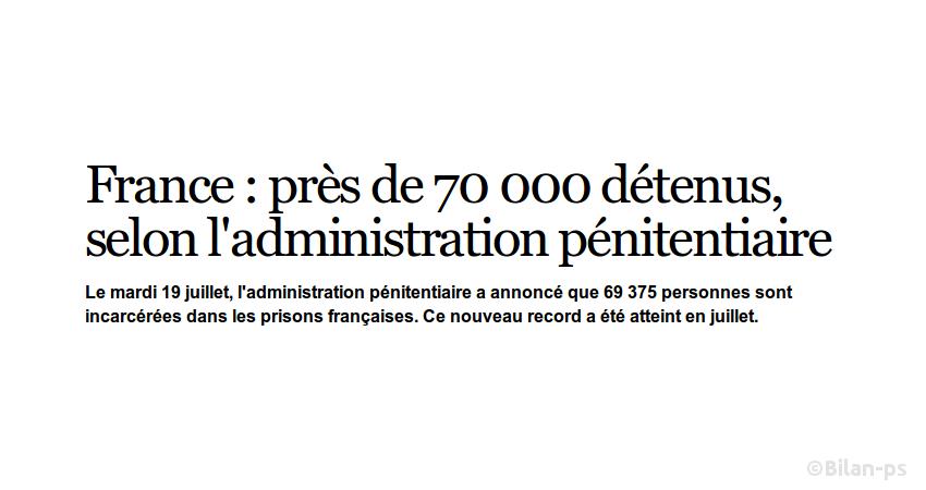 Prisons : Record d'incarcération