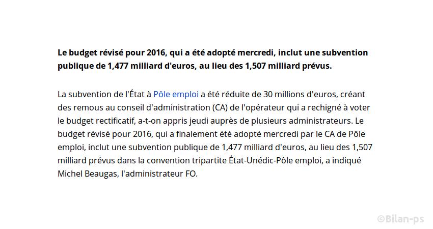 L'État ampute le budget de Pôle emploi de 30 millions