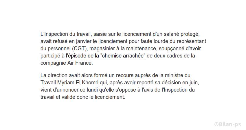 Air France : El Khomri valide le licenciement d'un délégué CGT