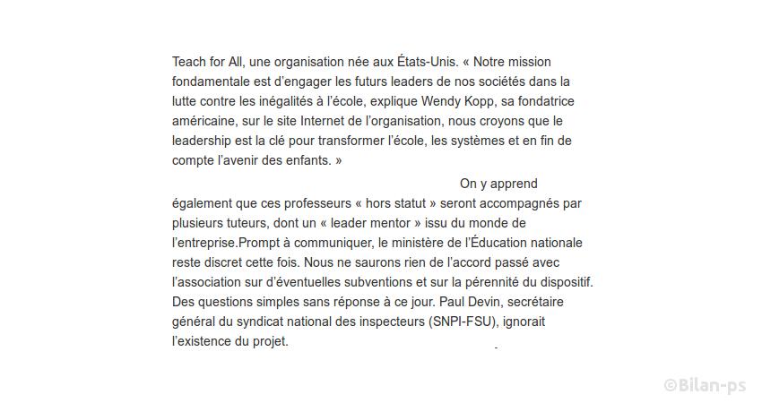 Teach For France : La formation des enseignants confiée en douce au privé
