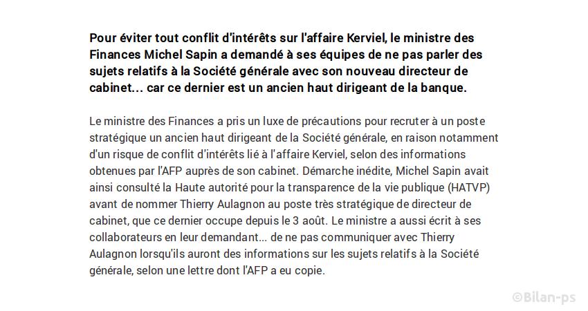 Conflit d'intérêt : Sapin recrute un ancien de la Société générale