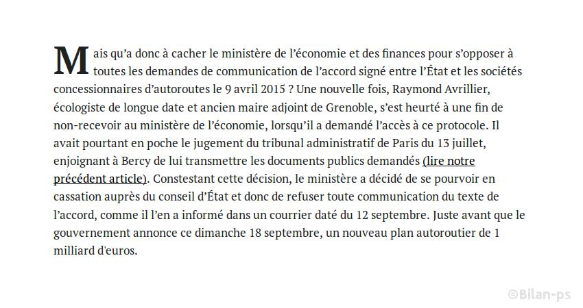 Bercy refuse de communiquer l'accord signé avec les sociétés autoroutières