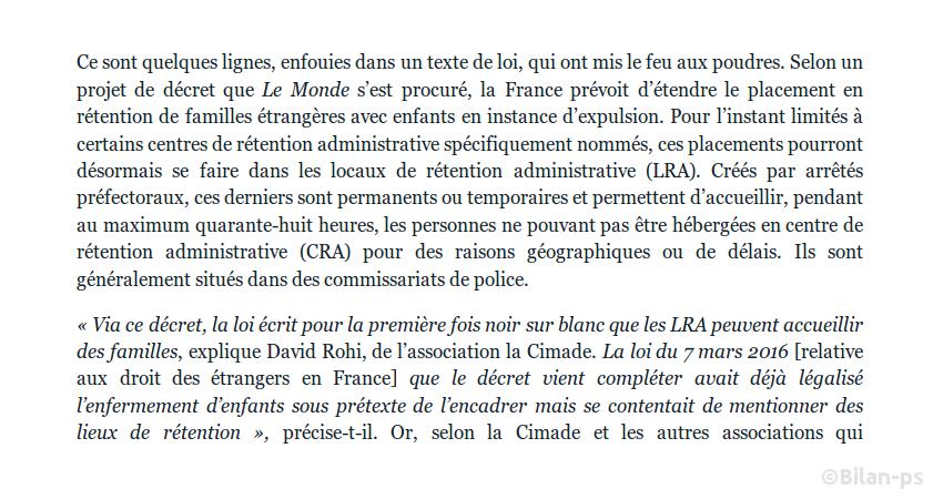 Rétention d'enfants étrangers : la France va élargir ses pratiques