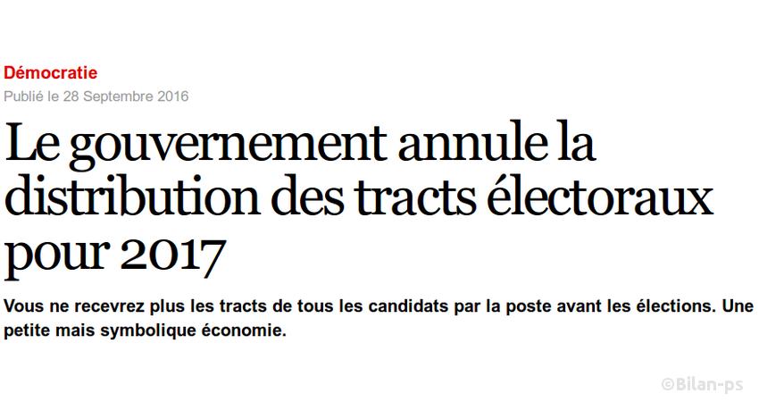 Le gouvernement annule la distribution des tracts électoraux pour 2017