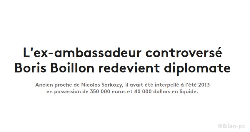 Boillon, cité dans l'affaire Sarkozy/Kadhafi est réintégré au Quai d'Orsay