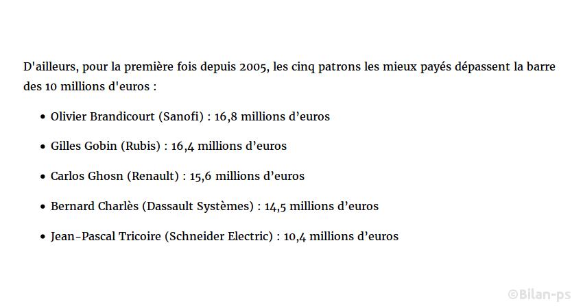 Rémunération 2015 des grands patrons +20%