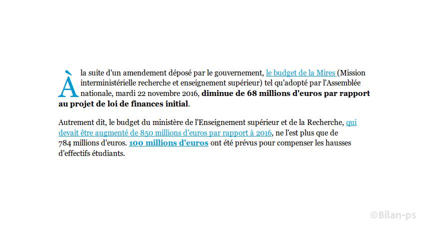 Amputation de 68M€s du budget 2017 de l'enseignement supérieur et la recherche