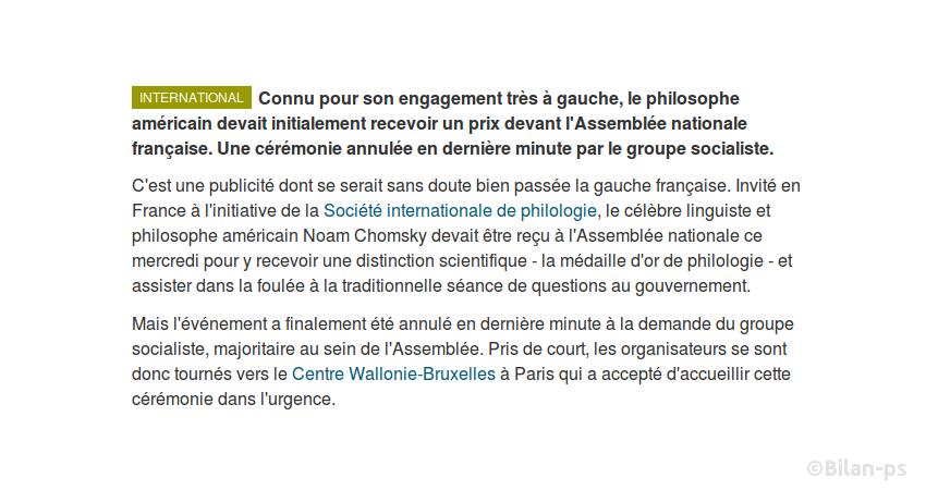 Le groupe socialiste annule la réception de Noam Chomsky à l'Assemblée
