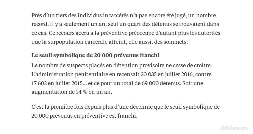 Nouveau record du nombre de détention provisoires