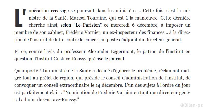 Touraine tente de recaser un proche à la tête d'un institut de lutte contre le cancer