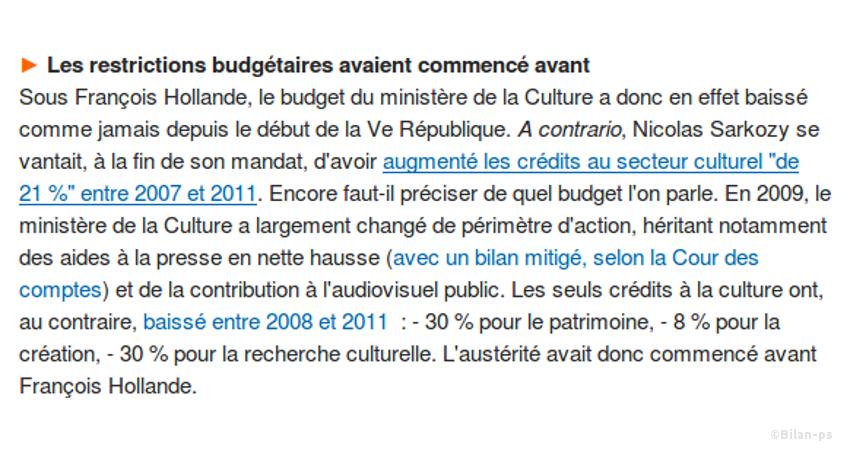Retour sur l'engagement à sanctuariser le budget de la Culture