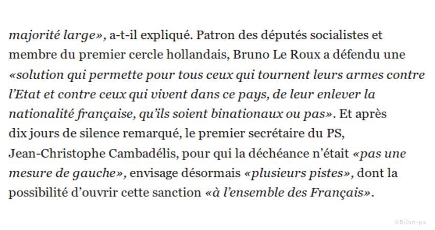 Bruno Le Roux envisage la déchéance pour tous