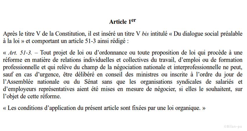 projet de loi relatif à la démocratie sociale