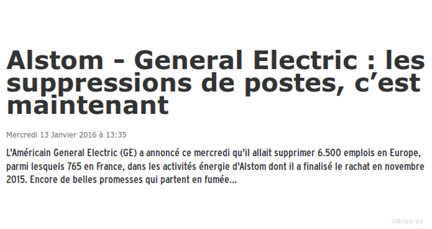 Alstom - General Electric : 765 suppressions de postes en France
