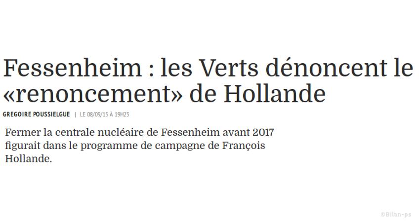 Renoncement à la fermeture de Fessenheim