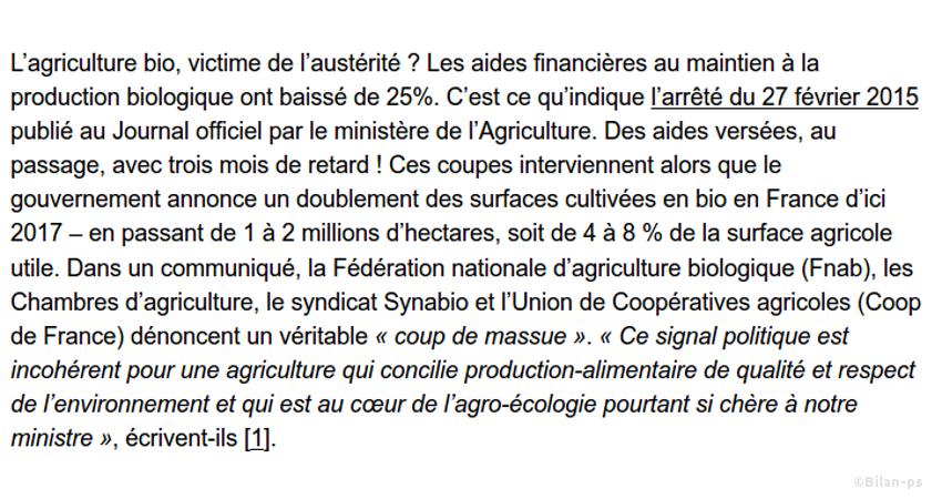 Réduction de 25% des aides au maintien dans l'agriculture biologique