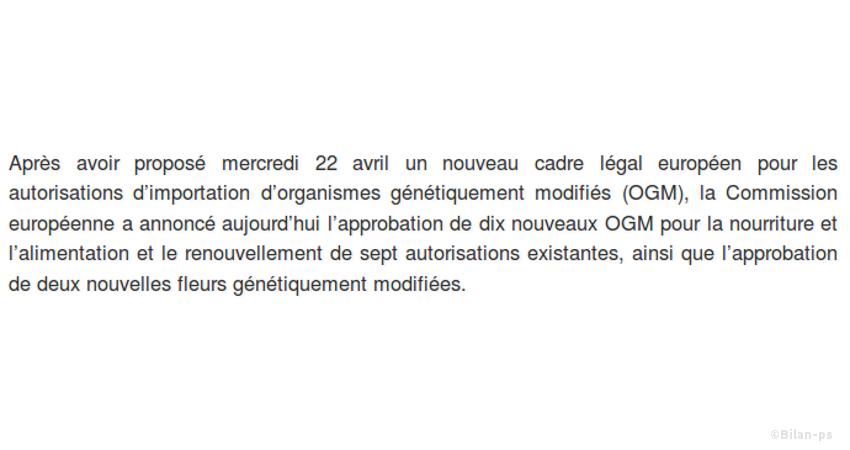 Silence sur les extensions d'autorisation d'OGM