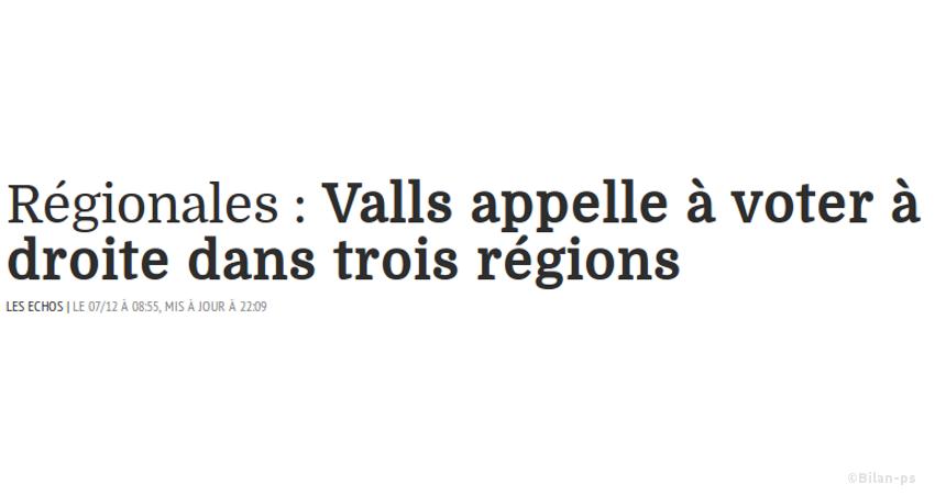 Valls appelle à voter à droite dans trois régions