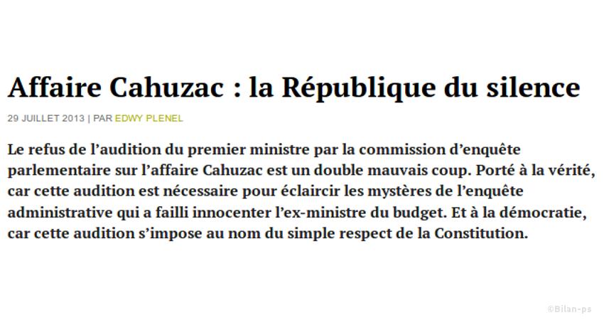 Affaire Cahuzac : la République du silence