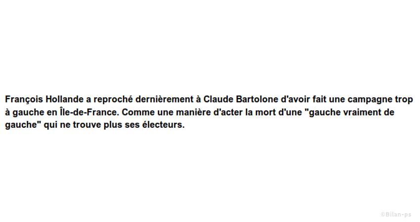 Hollande reproche à Bartolone une campagne trop à gauche