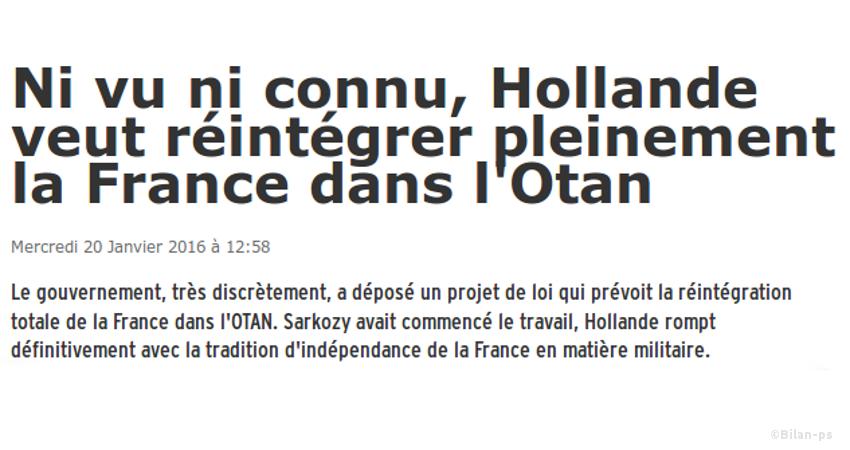 Hollande veut réintégrer pleinement la France dans l'Otan