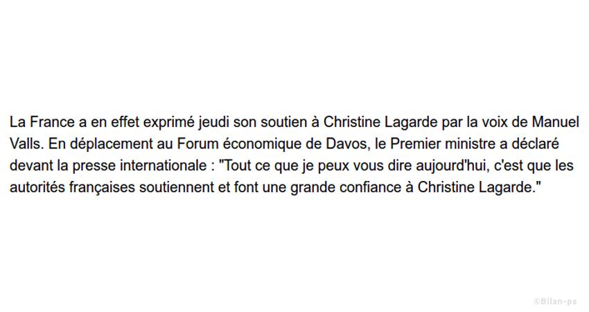 Valls soutient Lagarde à la tête du FMI