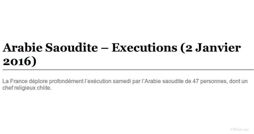 La France déplore l'exécution par l'Arabie saoudite de 47 personnes