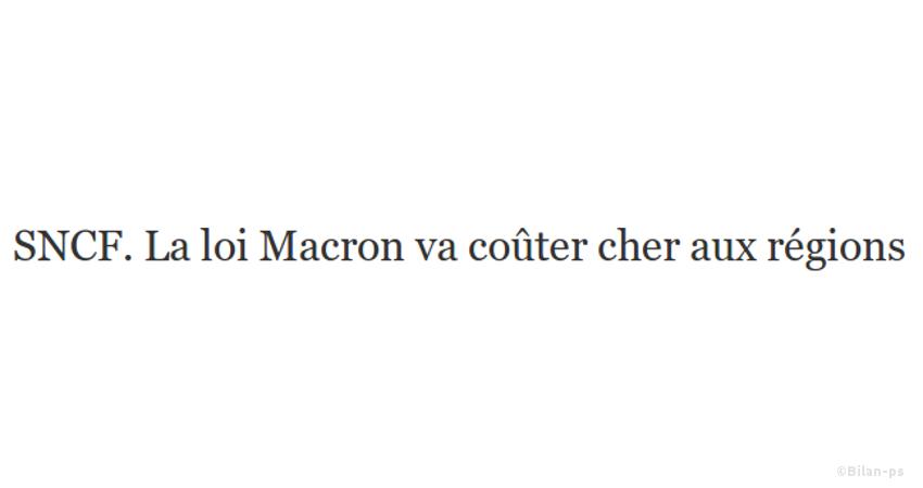 SNCF. La loi Macron va coûter cher aux régions