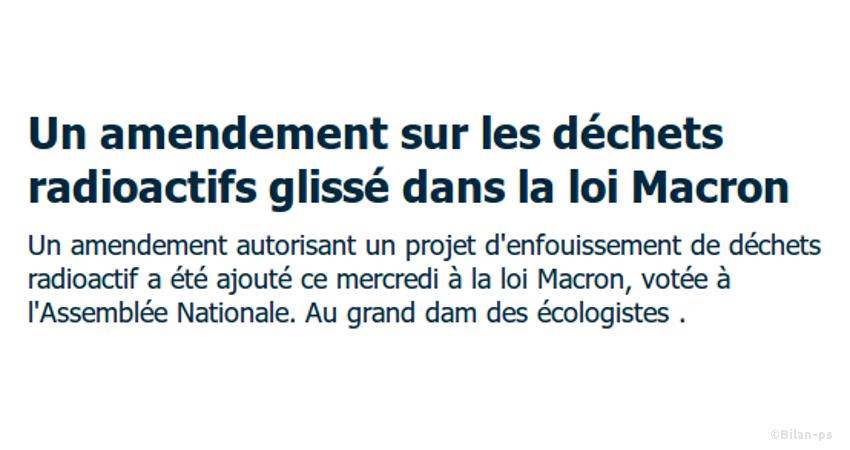 Loi Macron : un amendement pour l'enfouissement des déchets radioactifs
